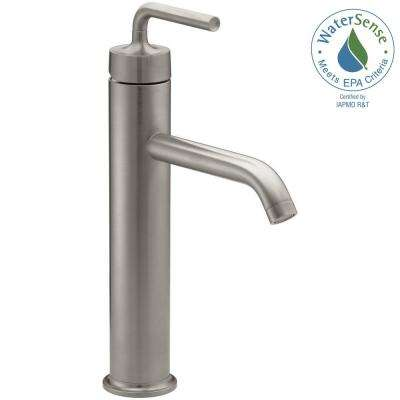 Purist Tall Single Hole Single Handle Low-Arc Water-Saving Faucet with Straight Lever Handle in Vibrant Brushed Nickel