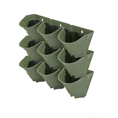 Self Watering Olive Green 3-Pockets Plastic Vertical Planters (3-Packs)