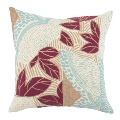 Heather Surf/ Berry 20 in. x 20 in. Linen Print and Embroidery Decorative Pillow