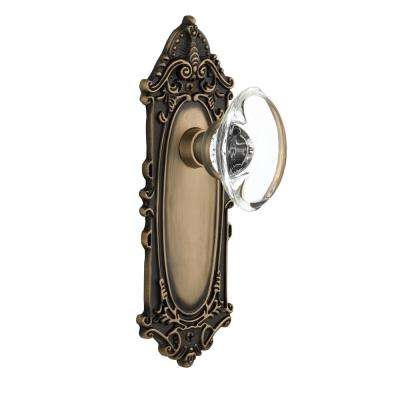 Victorian Plate Single Dummy Oval Clear Crystal Glass Door Knob in Antique Brass