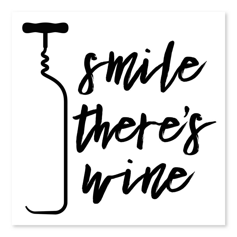 Artissimo Designs Smile There's Wineby Nikki Chu Printed Canvas Wall Art, Black;White was $35.99 now $24.66 (31.0% off)