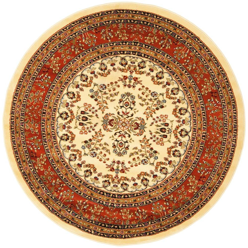 Ivory/Rust 5 Ft. 3 In. X 5 Ft. 3 In. Round Area Rug