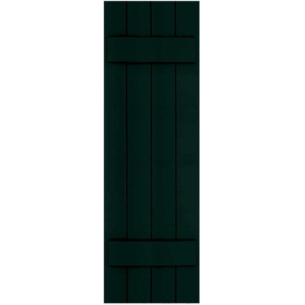 Winworks Wood Composite 15 in. x 49 in. Board & Batten Shutters Pair #654 Rookwood Shutter Green