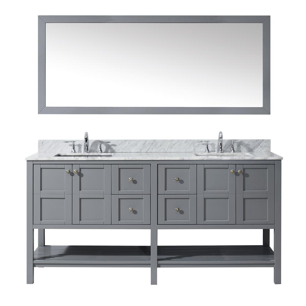 Virtu USA Winterfell 72 in. W Bath Vanity in Gray with Marble Vanity Top in White with Square Basin and Mirror