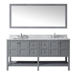 Virtu USA Winterfell 72 inch W x 22 inch D Vanity in Grey with Marble Vanity Top in White with White Basin and Mirror by Virtu USA