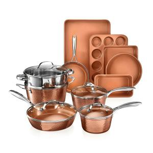 Hammered Copper 15-Piece Aluminum Non-Stick Cookware Set and Bakeware Set