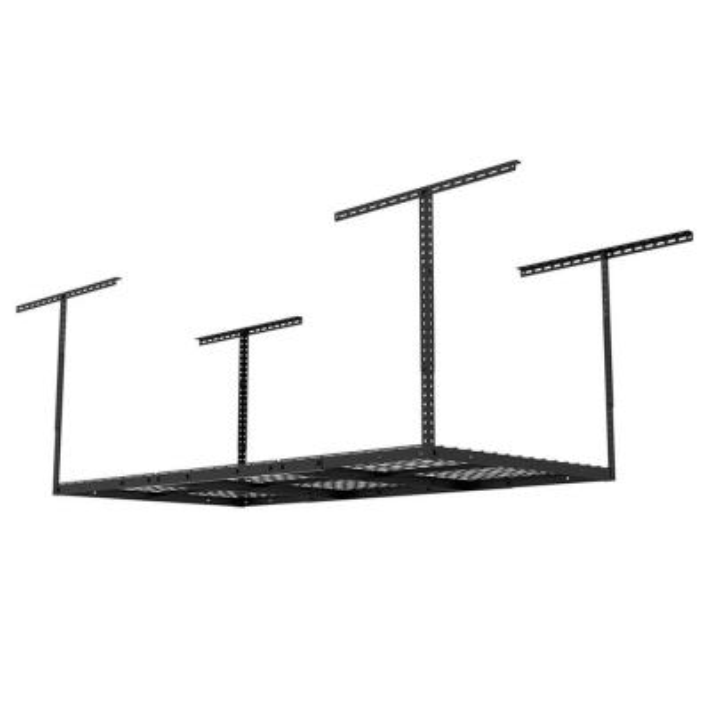 6 ft. x 3 ft. Heavy-Duty Overhead Garage Adjustable Ceiling Storage Rack in Black