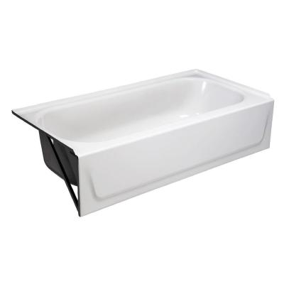 Aloha 60 in. Left Drain Rectangular Alcove Soaking Bathtub in White