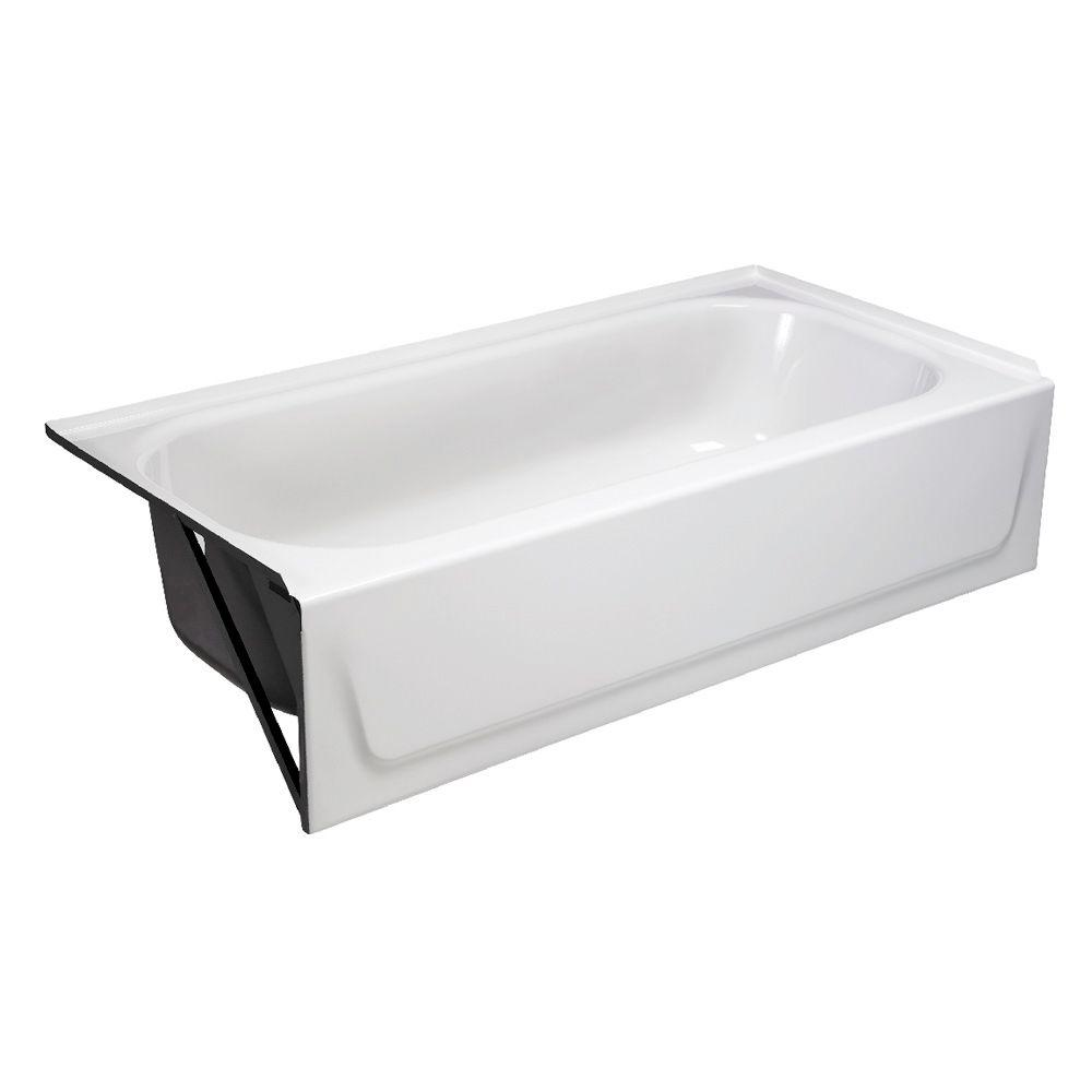 Left Drain Rectangular Alcove Soaking Bathtub In White