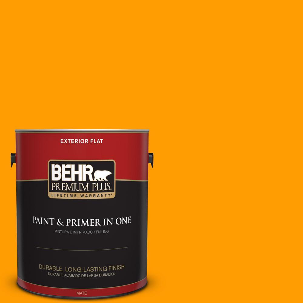 BEHR Premium Plus 1-gal. #S-G-320 Atomic Tangerine Flat Exterior Paint