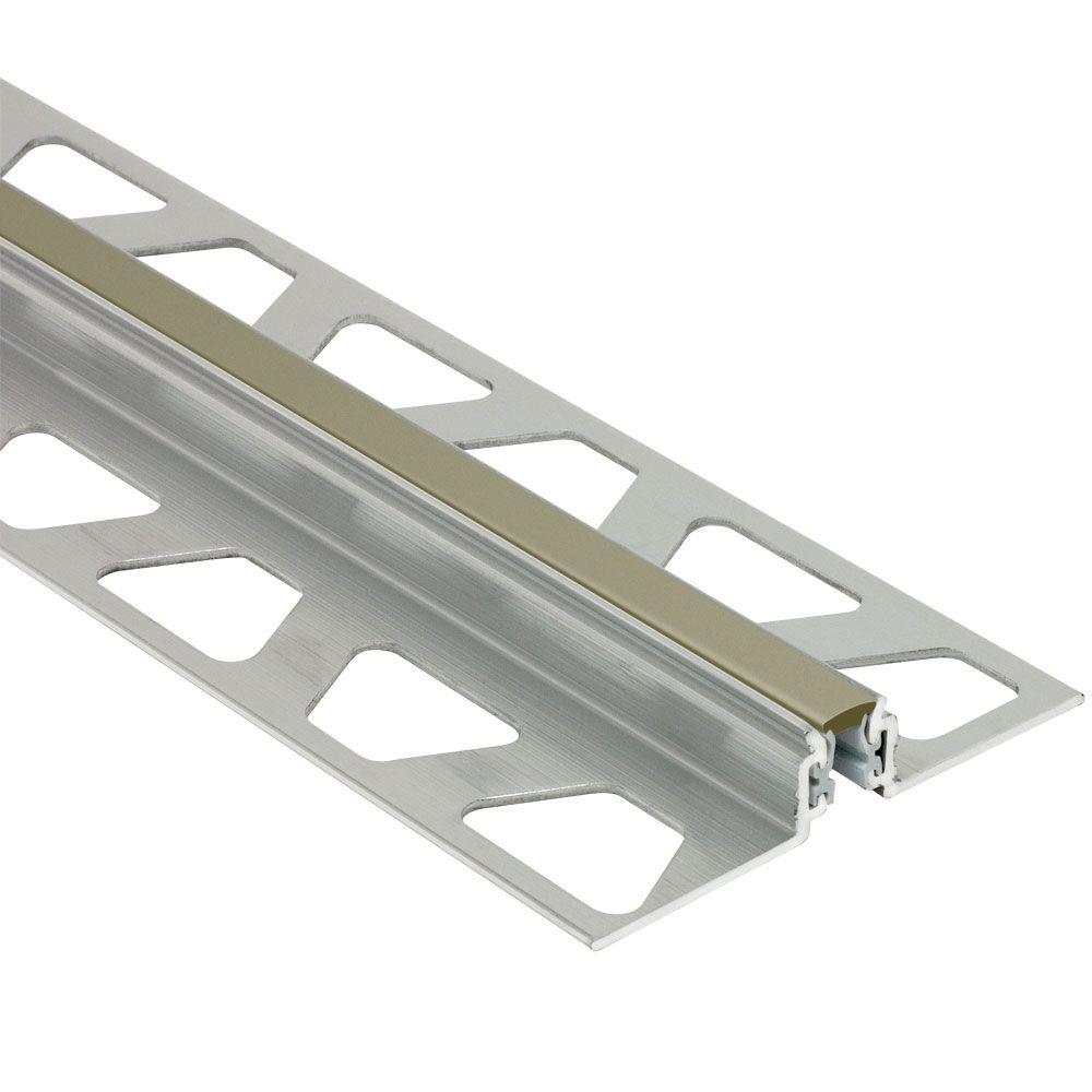 Schluter Dilex-AKWS Aluminum with Grey Insert 5/8 in  x 8 ft  2-1/2 in  PVC  and Metal Movement Joint Tile Edging Trim