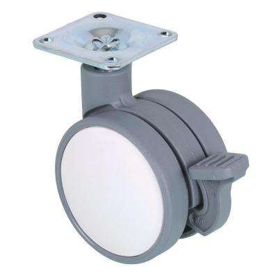 2-3/8 in. White and Gray Swivel with Brake Plate Caster, 132 lb. Load Rating