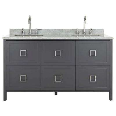 W Vanity In Charcoal With Natural Marble Top