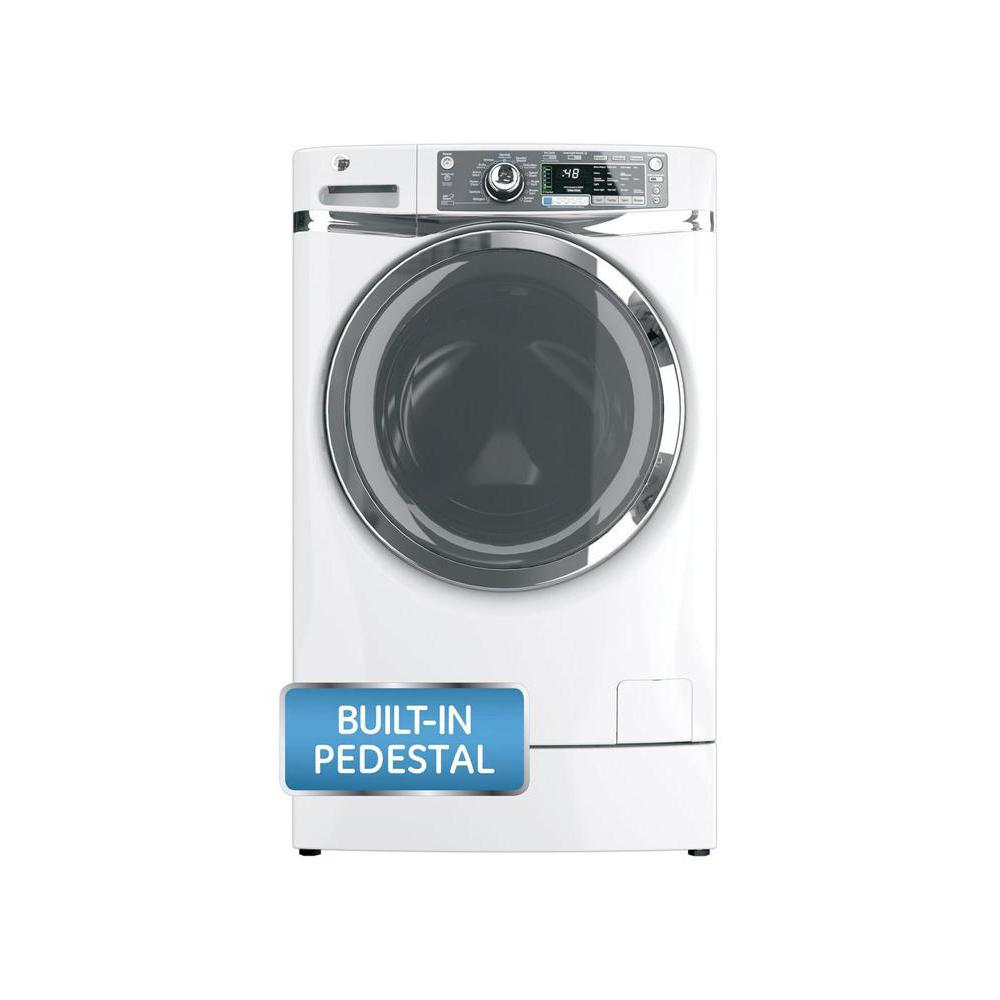 GE 4.8 DOE cu. ft. High-Efficiency RightHeight Front Load Washer with Steam in White, ENERGY STAR, Pedestal Included