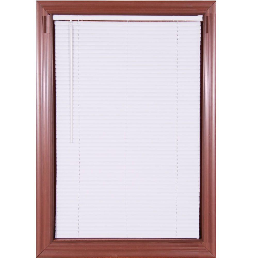 vinyl mini blinds white cordless 1 in vinyl mini blind 58 in w x 64 in 29411