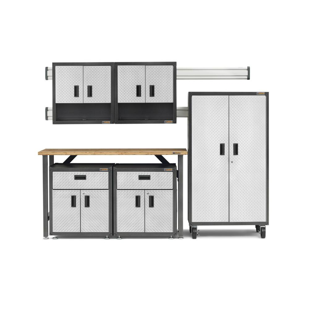 Gladiator Ready-to-Assemble 66 in. H x 103 in. W x 20 in.D Steel Garage Cabinet and Wall Storage System in Silver Tread (11-Piece)
