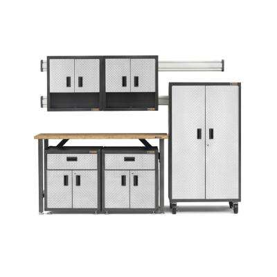 Ready-to-Assemble 66 in. H x 103 in. W x 20 in.D Steel Garage Cabinet and Wall Storage System in Silver Tread (11-Piece)