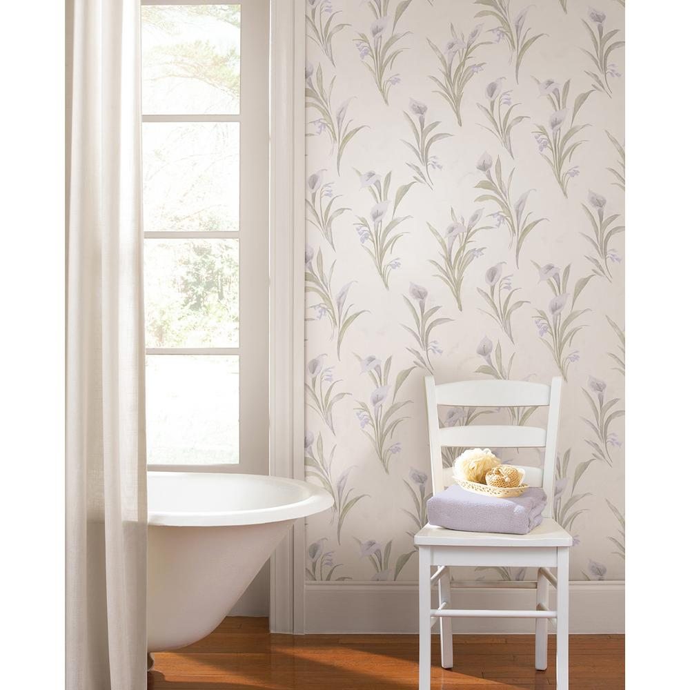 56.4 sq. ft. Vivianne Peach Iris Floral Wallpaper