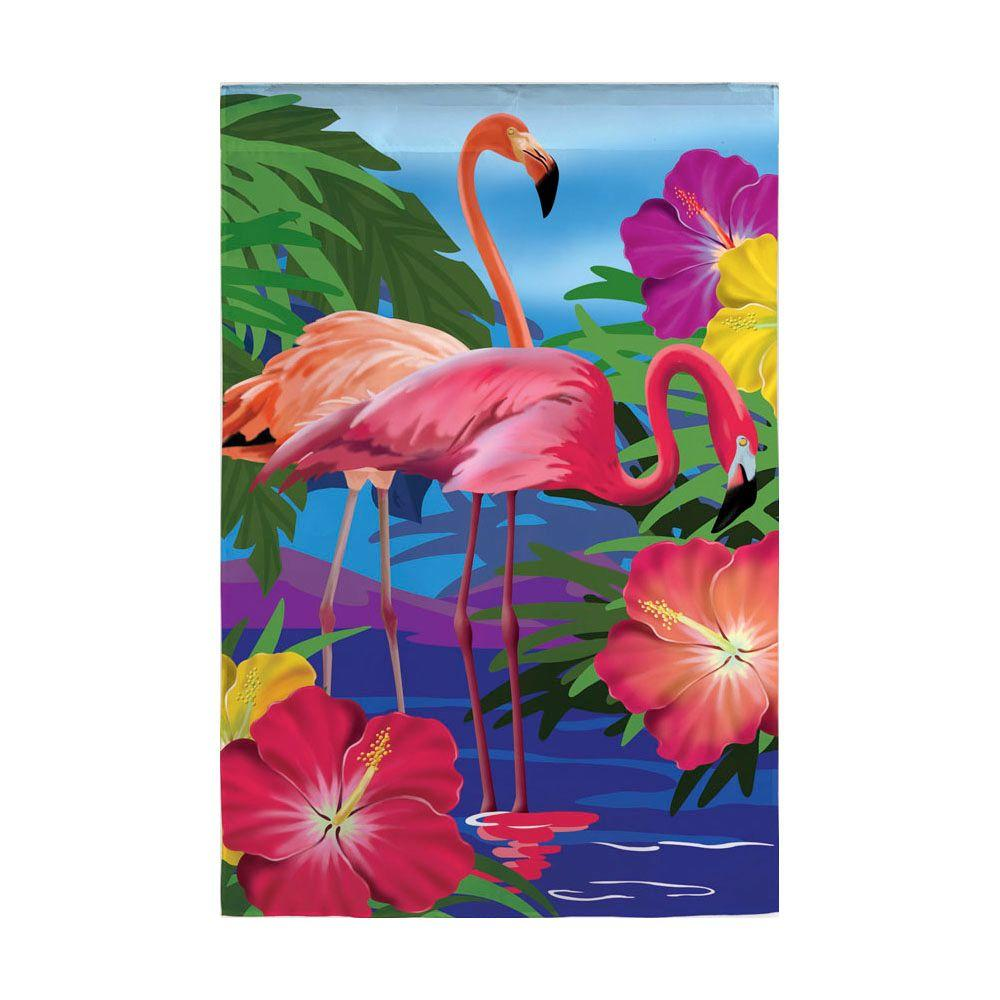 18 in. x 12-1/2 in. Flamingo Garden Flag