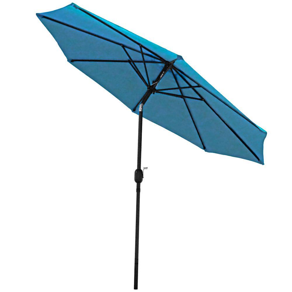 9 ft. Aluminum Market Tilt Patio Umbrella in Turquoise
