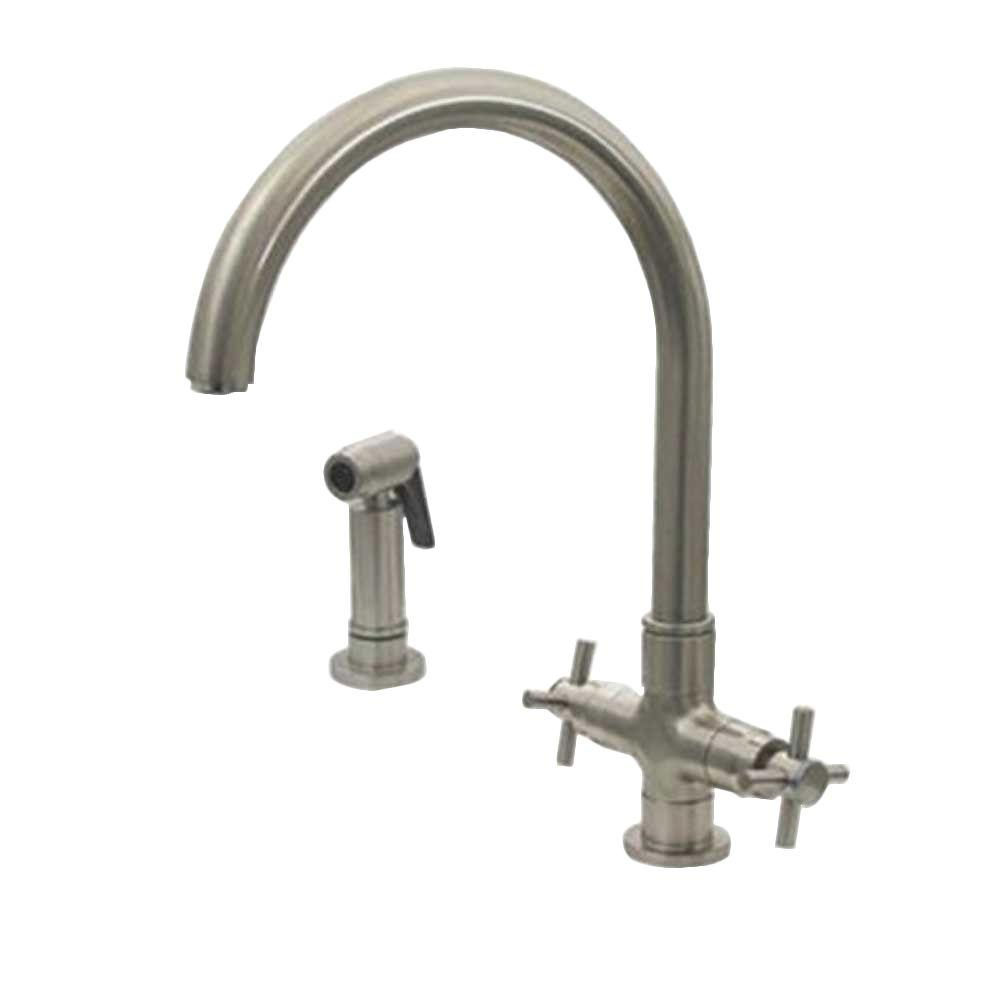 Whitehaus Collection 2-Handle Side Sprayer Kitchen Faucet in Brushed Nickel
