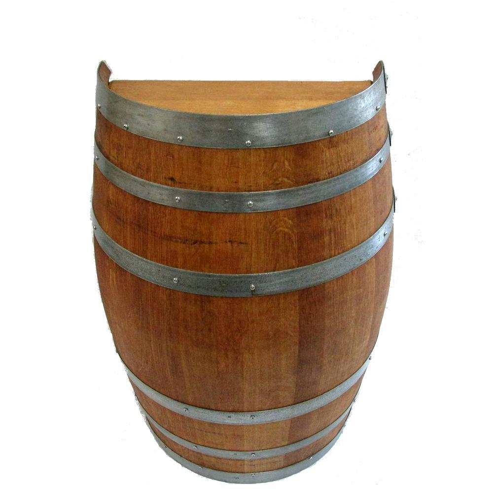 26 in. W x 35 in. H Lacquer Oak Wood Split Wine Barrel Stand