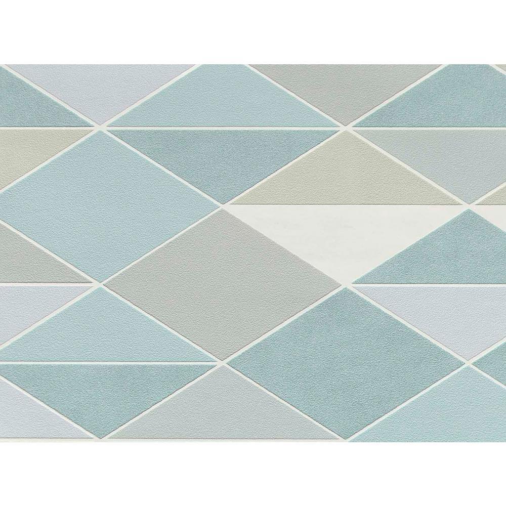 Blue & Sage Green Dwinding Diamonds Wallpaper