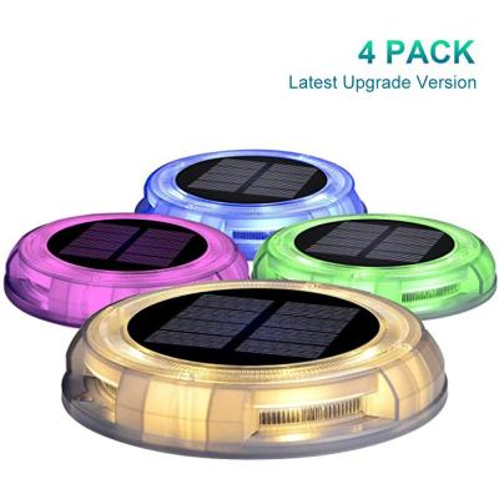 eLEDing Solar Powered 4-lights America Style Color Deco LED Garden Fence Pool Porch Waterproof Lights (4PK)