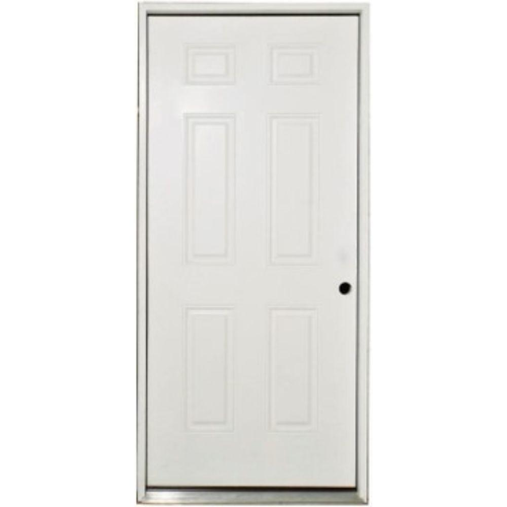 Steves Sons 36 In X 80 In Classic Premium 6 Panel Left Hand Inswing Primed White Steel Prehung Front Door Stl6pxpr3680li The Home Depot