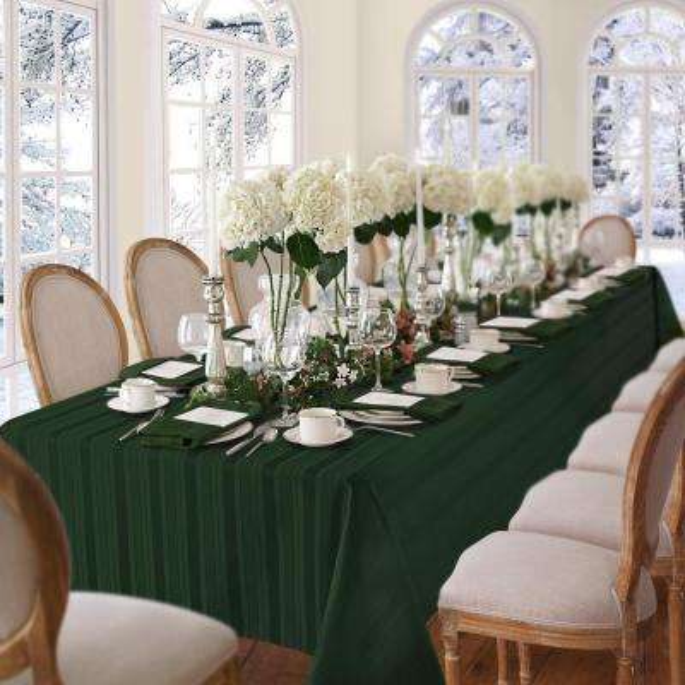 60 in. W x 84 in. L Oblong Hunter Elrene Denley Stripe Damask Fabric Tablecloth