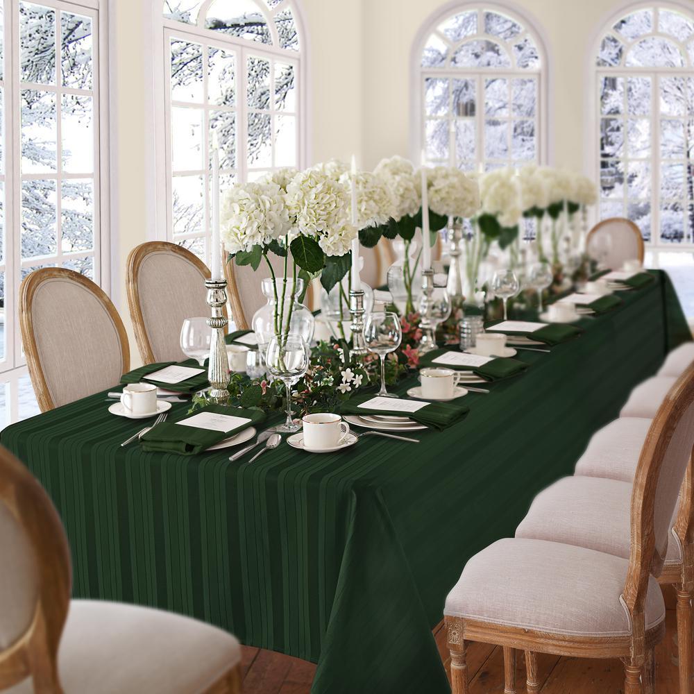 60 in. W x 102 in. L Hunter Elrene Denley Stripe Damask Fabric Tablecloth