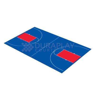 43 ft. 10 in. x 75 ft. 7 in. Royal Blue and Red Full Court Basketball Kit