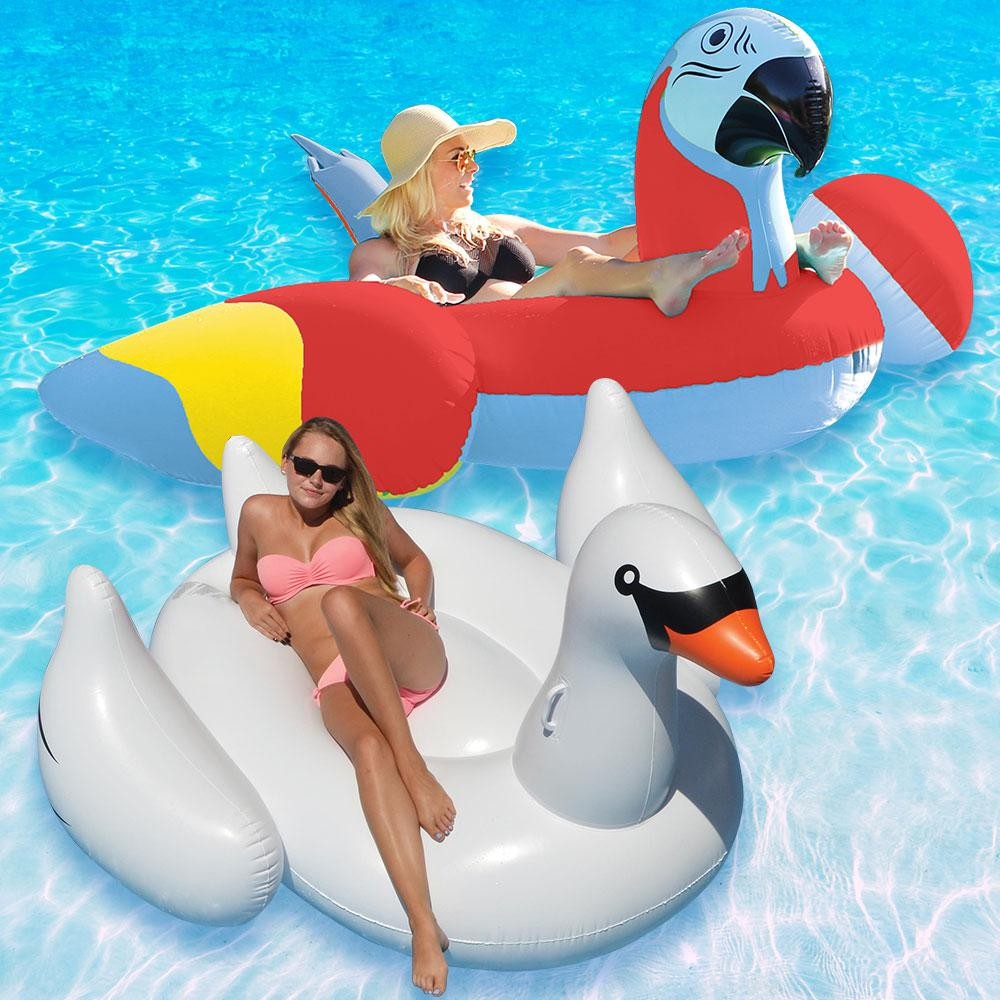 Margaritaville Red Parrot Head and Giant White Swan Swimming Pool Float