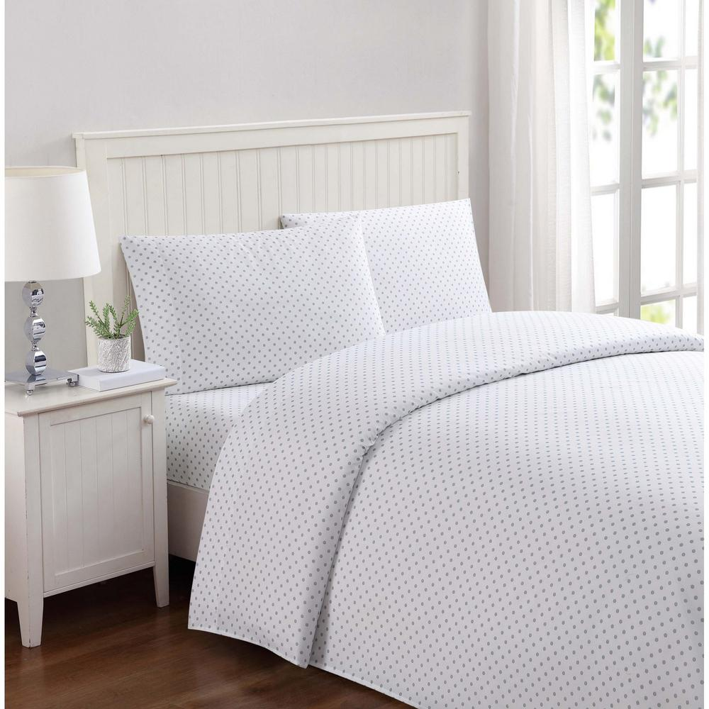 Everyday Dot Gray Twin Sheet Set