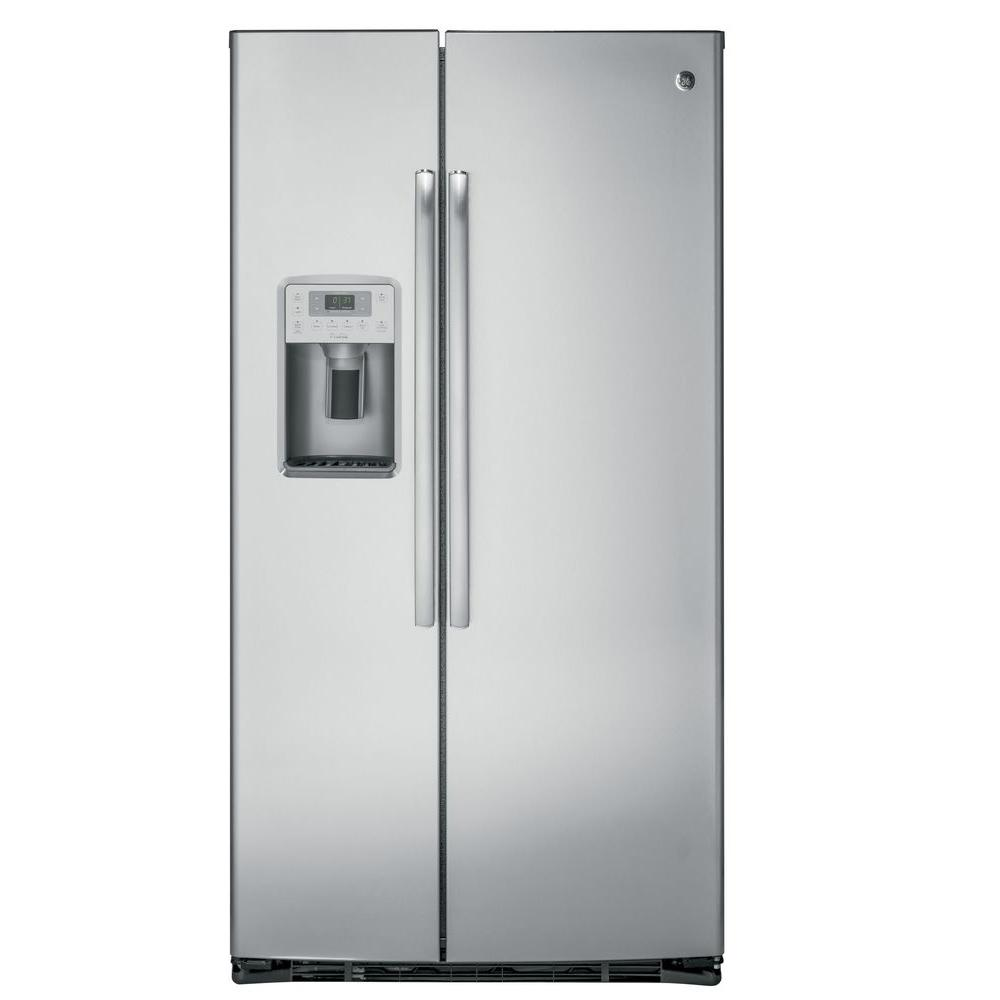 ge profile 36 in w 21 9 cu ft side by side refrigerator