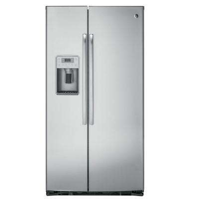 Profile 36 in. W 21.9 cu. ft. Side by Side Refrigerator in Stainless Steel, Counter Depth