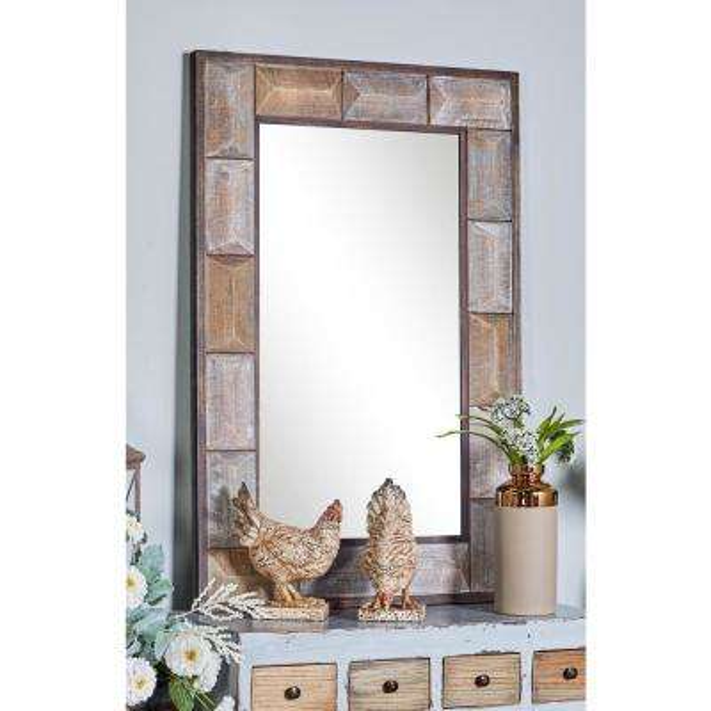 Rectangular Distressed Brown Decorative Wall Mirror