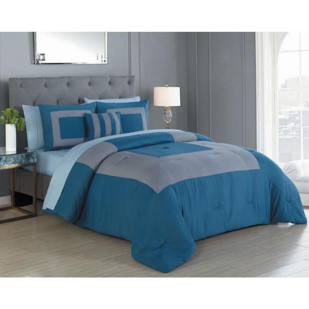 Avondale Manor Carson 8-Piece Blue/Grey King Comforter Set CSN8CSKINGGHBG