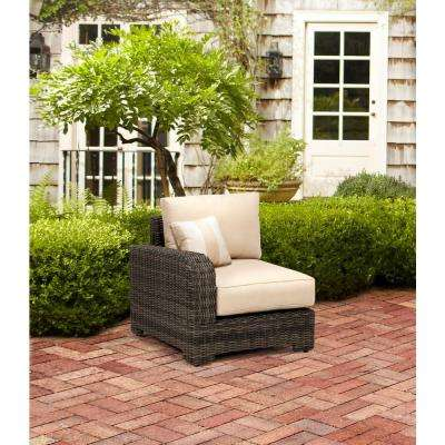 Northshore Left Arm Patio Sectional Chair with Harvest Cushion and Regency Wren Outdoor Throw Pillow -- STOCK