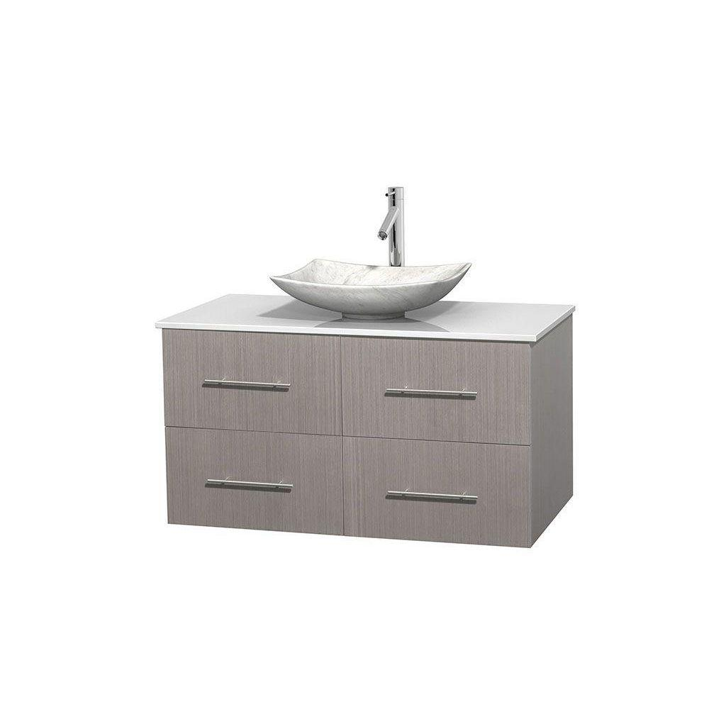 Wyndham Collection Centra 42 in. Vanity in Gray Oak with Solid-Surface Vanity Top in White and Sink