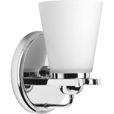 Flight Collection 1-Light Polished Chrome Bath Sconce with Etched Glass Shade