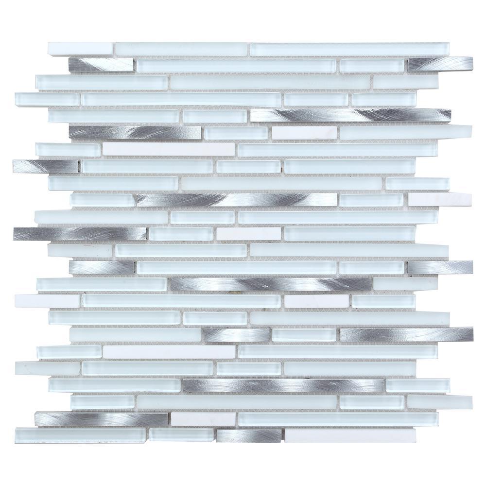 CHENX 11.81 in. x 13.38 in. x 8 mm Aluminum Metal Glass Stone Backsplash Multi Color (12.01 sq. ft. / case)