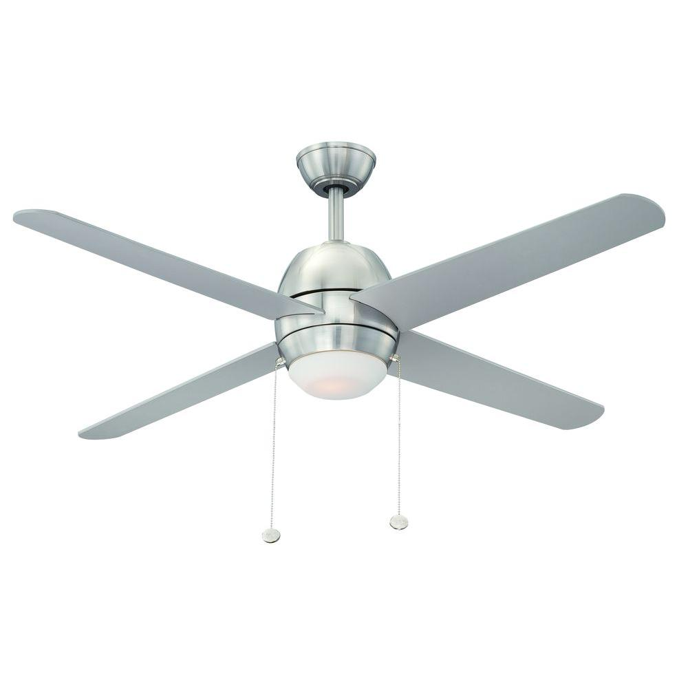 Hampton Bay Northport 52 in. Indoor Brushed Nickel Ceiling Fan with Light Kit