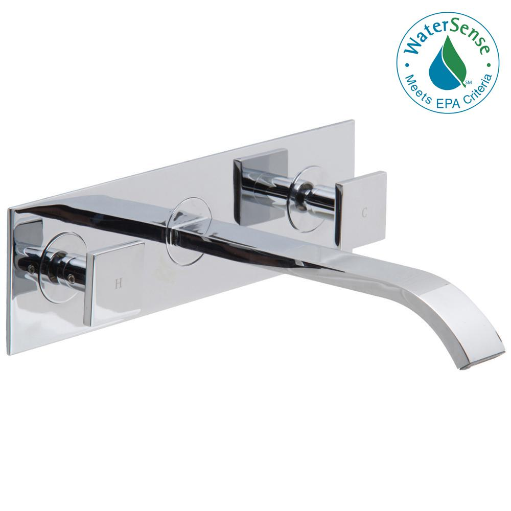 VIGO Titus Dual Lever 2-Handle Wall-Mount Bathroom Faucet in Chrome ...