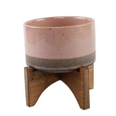 5.1 in. Pink and Mauve Ceramic Lava Pot on Wood Stand Mid-Century Planter