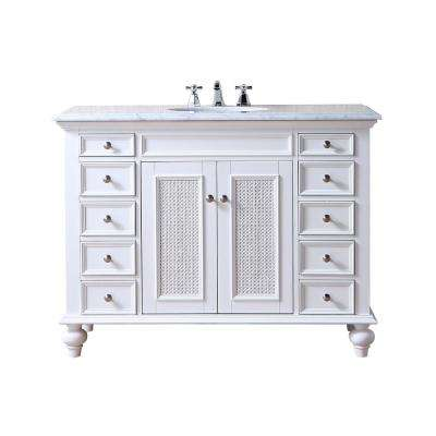Rory 48 in. Bath Vanity in White with White Marble Vanity Top in White with White Basin