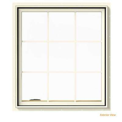 36 in. x 40 in. W-2500 Series Cream Painted Clad Wood Left-Handed Casement Window with Colonial Grids/Grilles