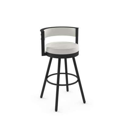 Eller 26 in. Off-White Faux Leather / Black Metal Counter Stool