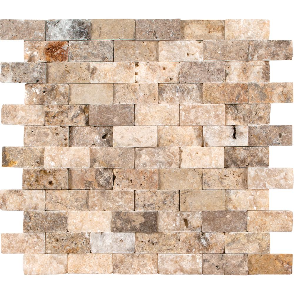 MSI Scabas Split Face 11.4 in. x 10.8 in. x 8 mm Travertine Mesh-Mounted Mosaic Wall Tile (4.3 sq. ft. / case)