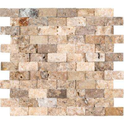 Scabas Split Face 11.4 in. x 10.8 in. x 8 mm Travertine Mesh-Mounted Mosaic Wall Tile (4.3 sq. ft. / case)
